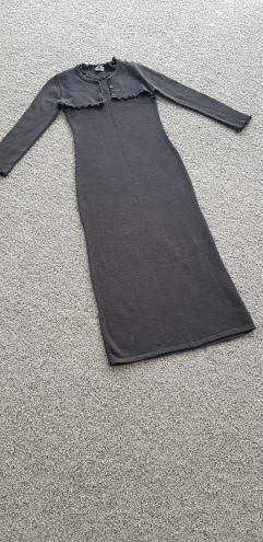 Y London lange grijze jurk met bolero